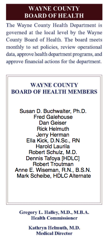 Wayne County Board of Health shows Rick Helmuth as a member