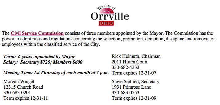 Orrville, Ohio Civil Service Commission where Rick Helmuth is Chairman