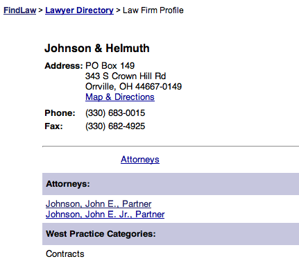 Rick Helmuth's address for Johnson & Helmuth law firm