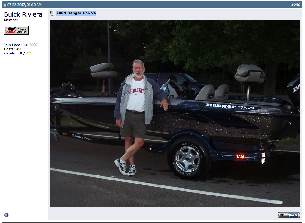 Rick Helmuth, AKA Buick Riviera with bass boat
